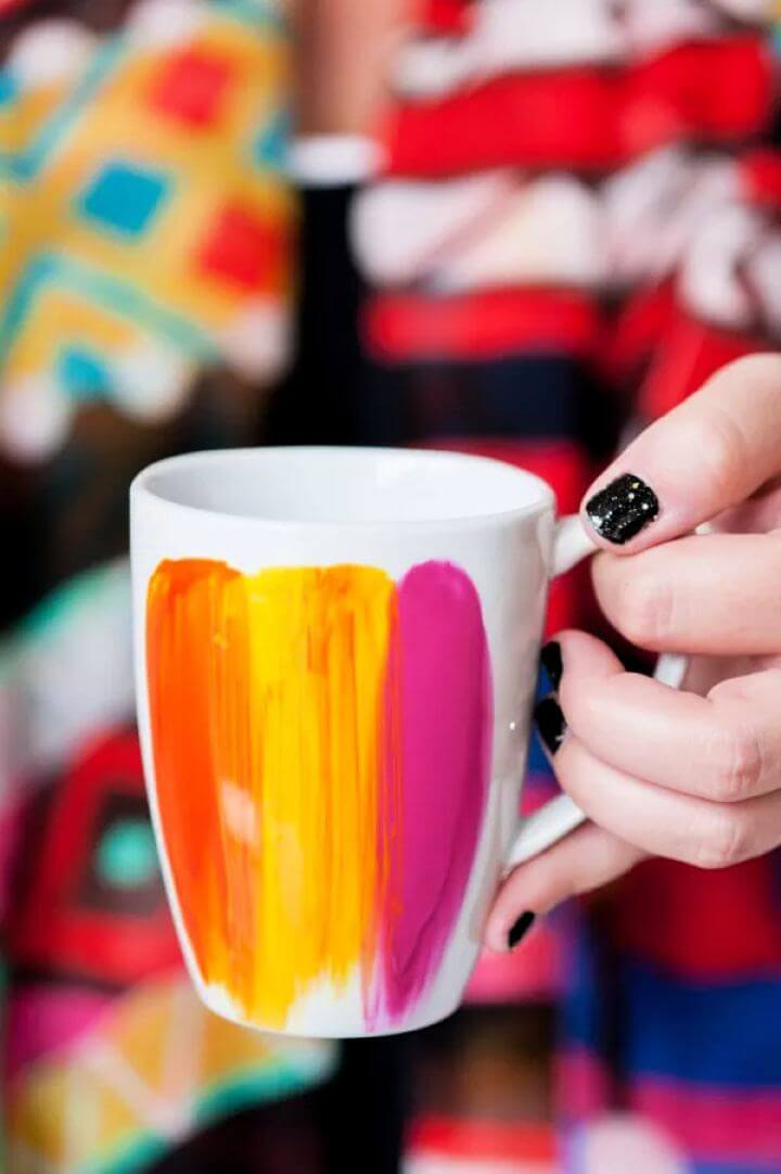 painted mug, diy mug, handmade mug, how to,