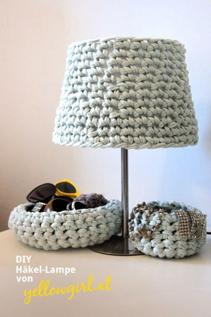 crochet lamp, diy crochet, crochet lampshade, lampshade idea, cozy lampshade