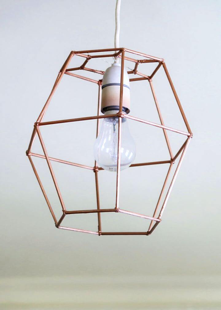 diy lampshade idea, diy geometric, lights lampshade, diy gola lampshade, unique idea