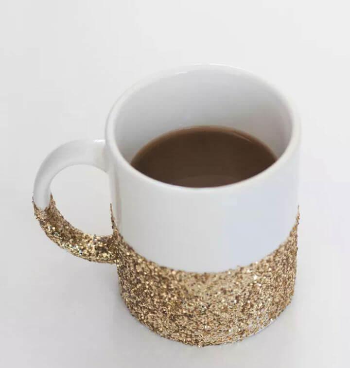 diy mug, glitter mug, gold mug, white mug, diy crafts and projects