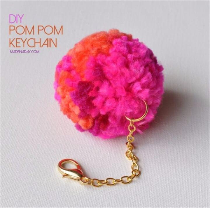 pompom keychain, diy make and sell, gift idea, holiday idea