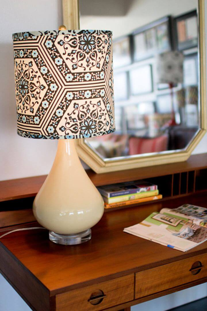 printed lampshade, fabric lampshade, diy unique lampshade, creative lampshade