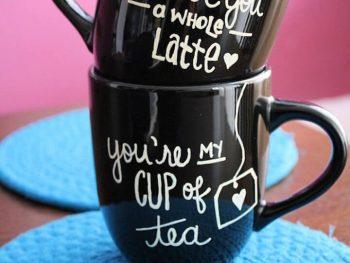 diy sharpie, diy painted mug, diy ideas, diy black mug