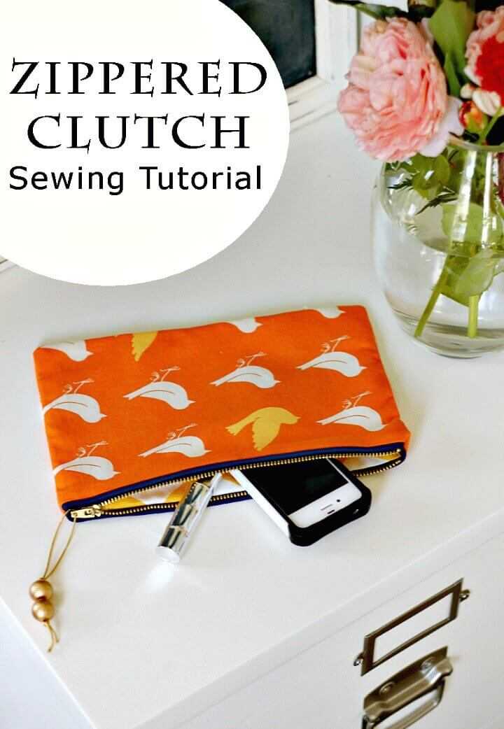 zipper clutch, sewing clutch, how to make, easy clutch