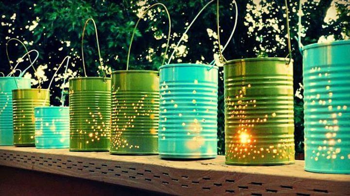 garden decor, tin can, tin can idea, diy tin can, using tin can