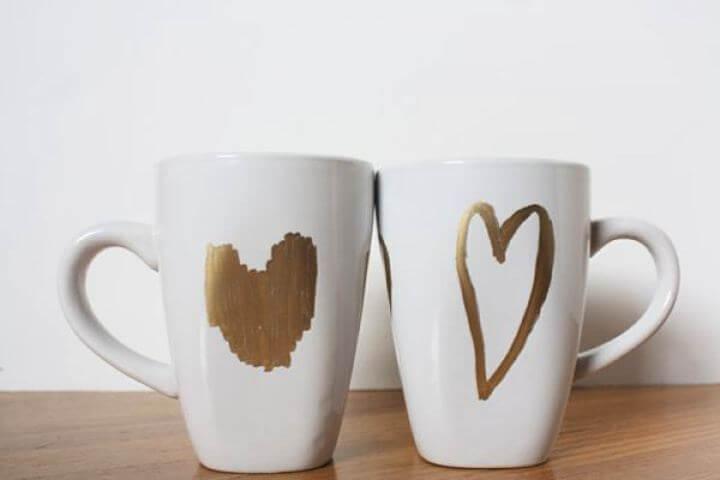 hearts mug, diy mug, hearts idea, diy glitter mug,