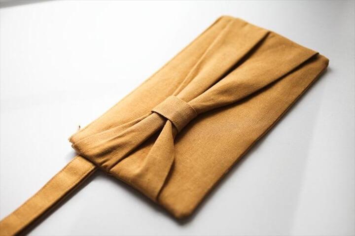 bow type clutch, diy clutch, handmade clutch
