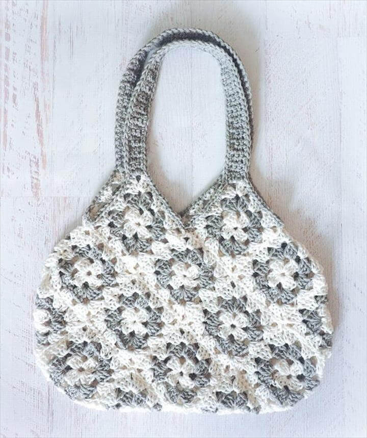 Granny Square Knitting Bag Crochet Pattern. ""