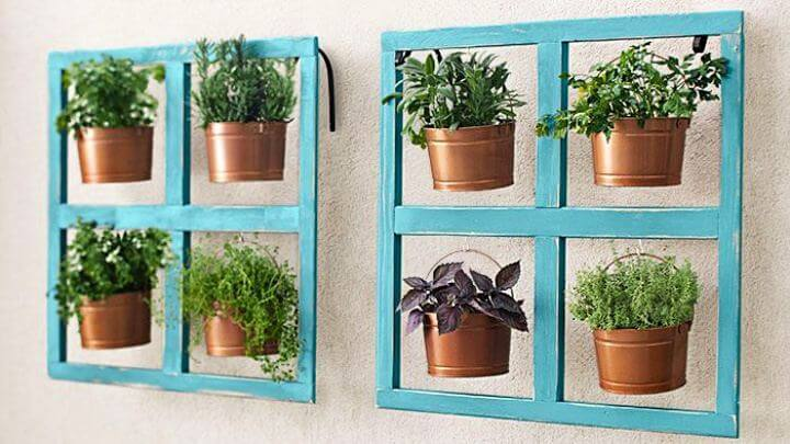 hanging bucket, herb planter, diy, backyard,