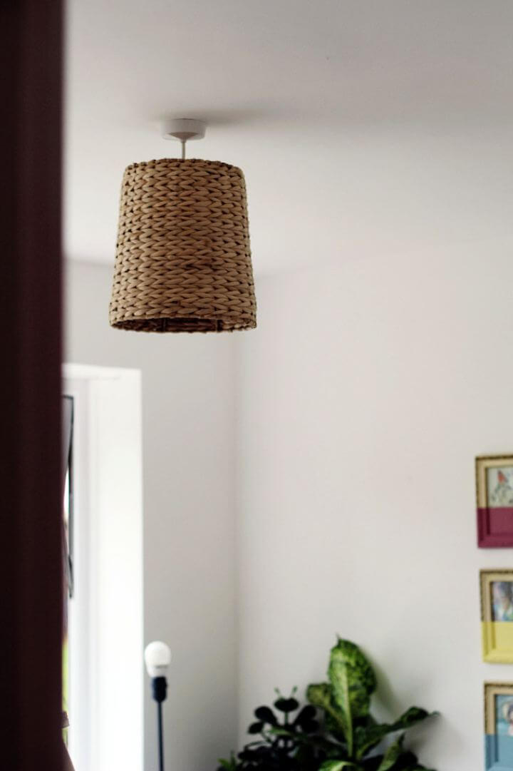 hanging lampshade, basket lampshade, woven lampshade, crafts idea