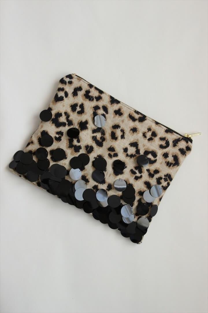 leopard sequin zipper clutch, how to, black clutch