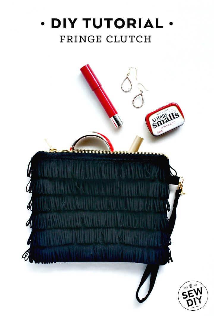 own fringe clutch, diy clutch, diy ideas, diy crafts