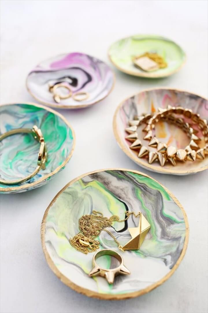 holiday gift idea, marbled clay ring dish, marble idea, dish for gift