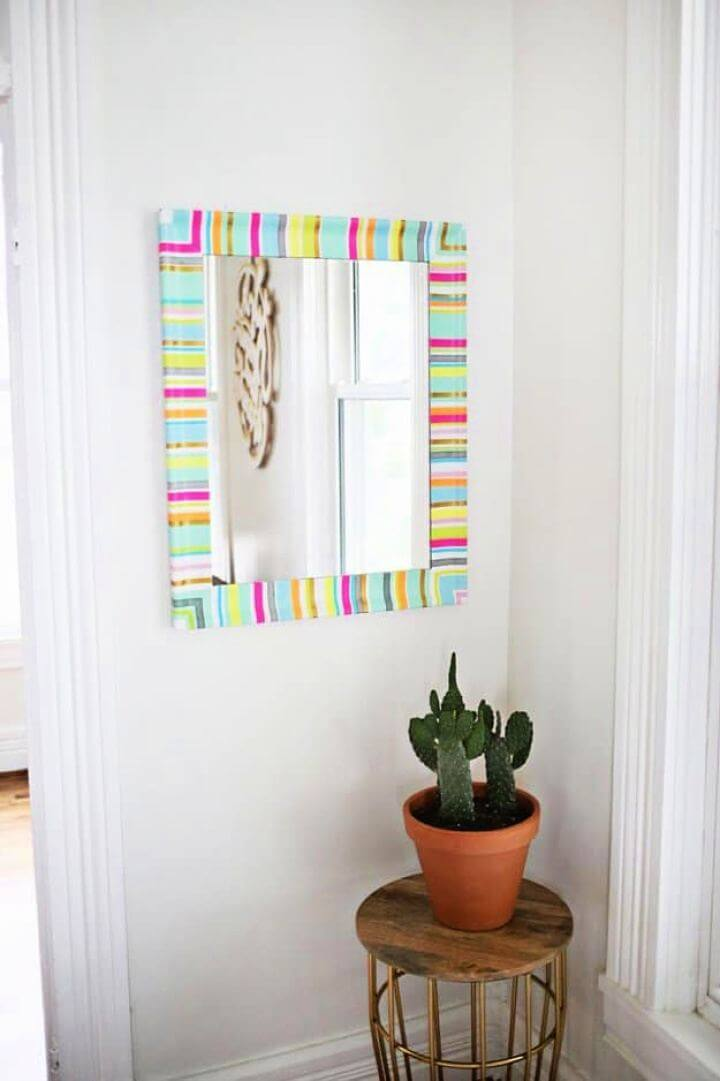 wall decor, mirror frame, washi tape ideas,
