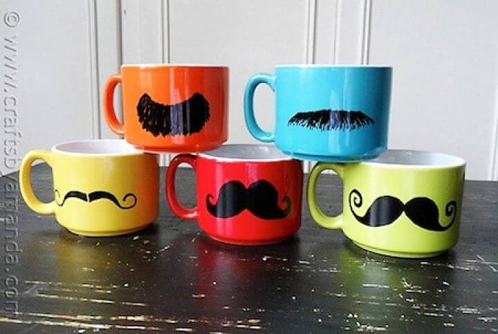 mustache mugs, mustache idea, diy crafts, diy projects