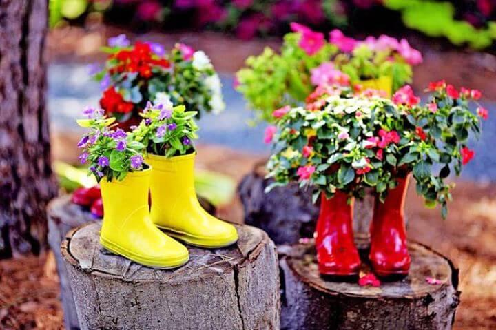 shoes reuse, shoes gardening, gardening decor