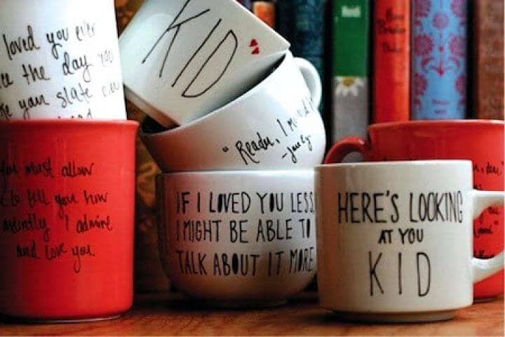 quotes mug, quotes idea, painted mugs, how to make, diy crafts and projects