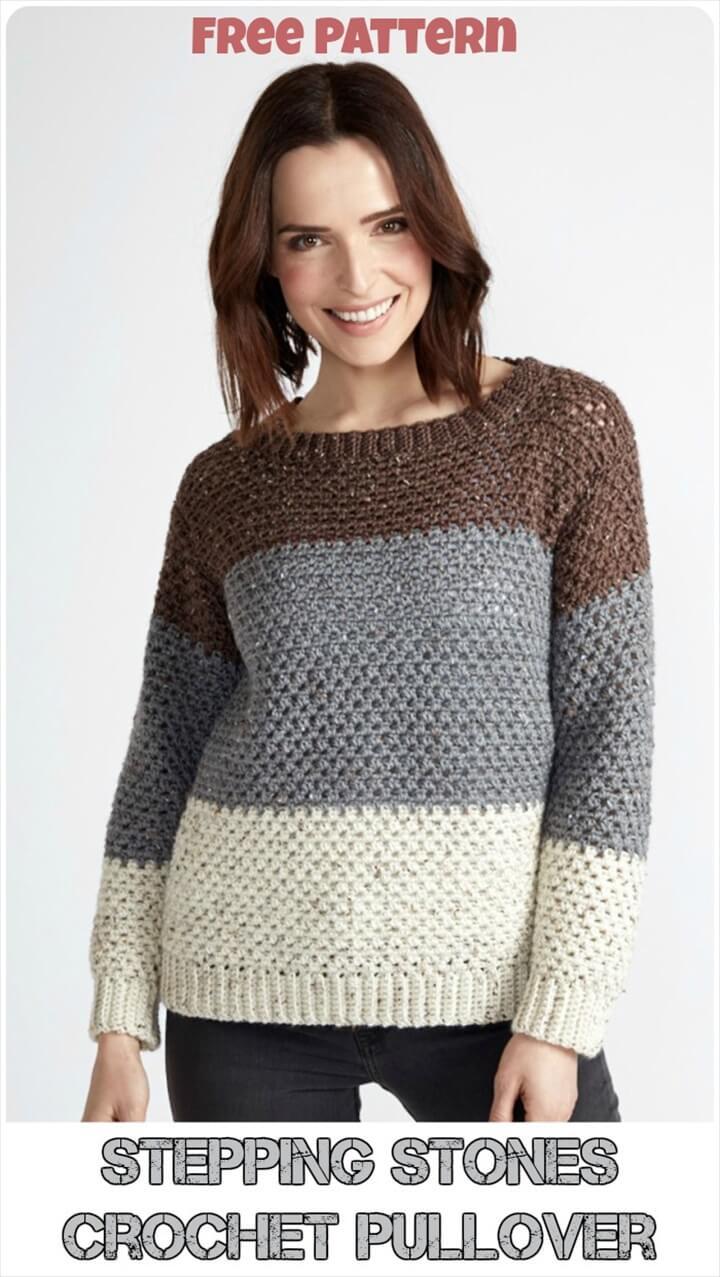 stones crochet stepping, crochet pattern, Pullover Free Pattern