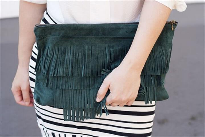 fringe clutch, clutch bags, diy crafts, diy ideas, how to
