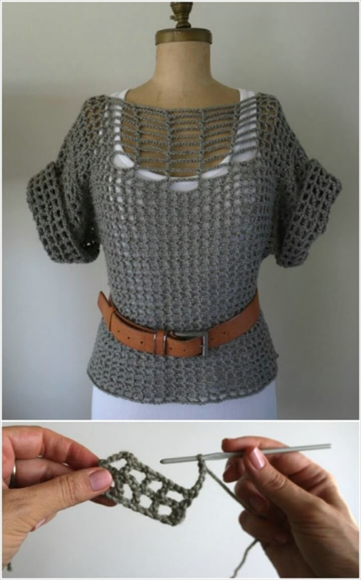 summer sweater, double stitch sweater, belt sweater, sweater with belt, crochet ideas