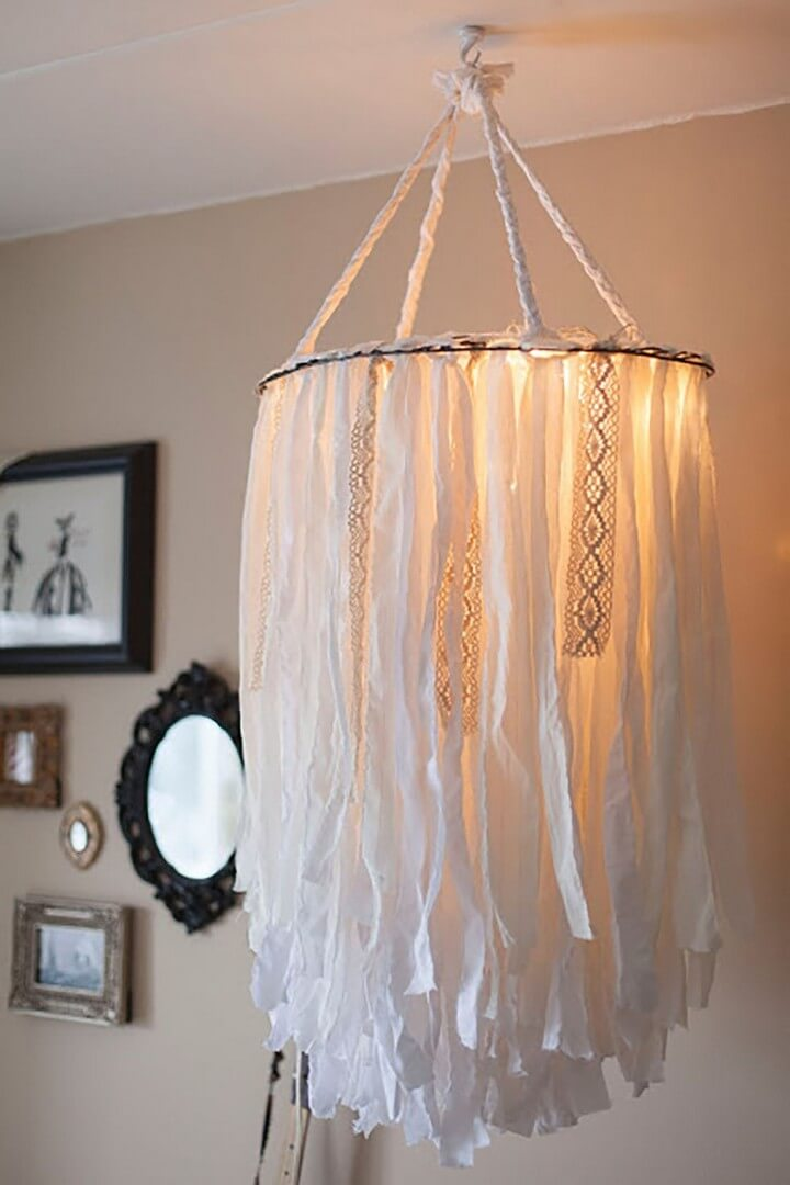 cloth chandelier, room chandelier idea, do it yourself, hanging chandelier idea