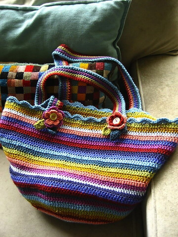 crochet bag, stripes bag, diy bags, how to