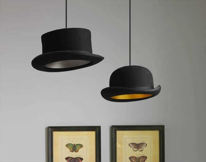 diy lampshade, diy hat lampshade, home decor, bright room