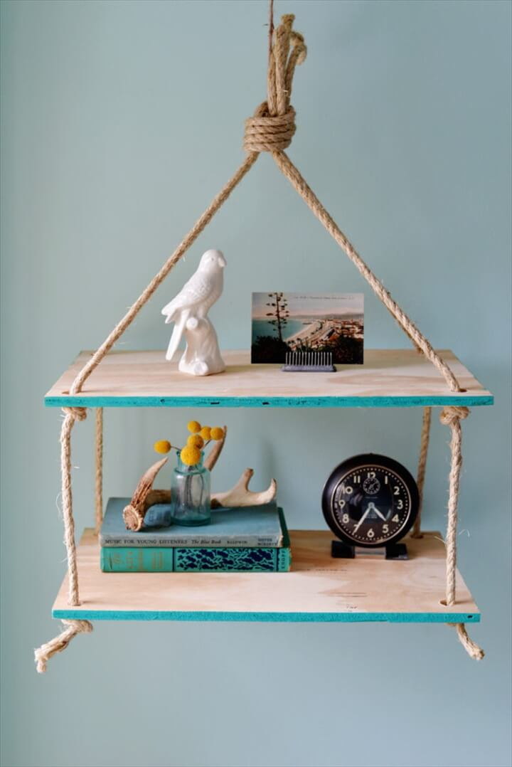 home decor, ideas, diy, diy hanging rope, shelf ideas,