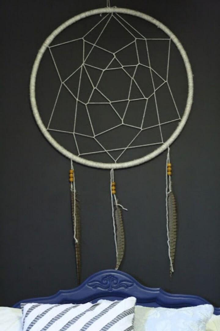 diy hula hoop ideas, dream catcher ideas, wall catcher bedroom, crafts projects