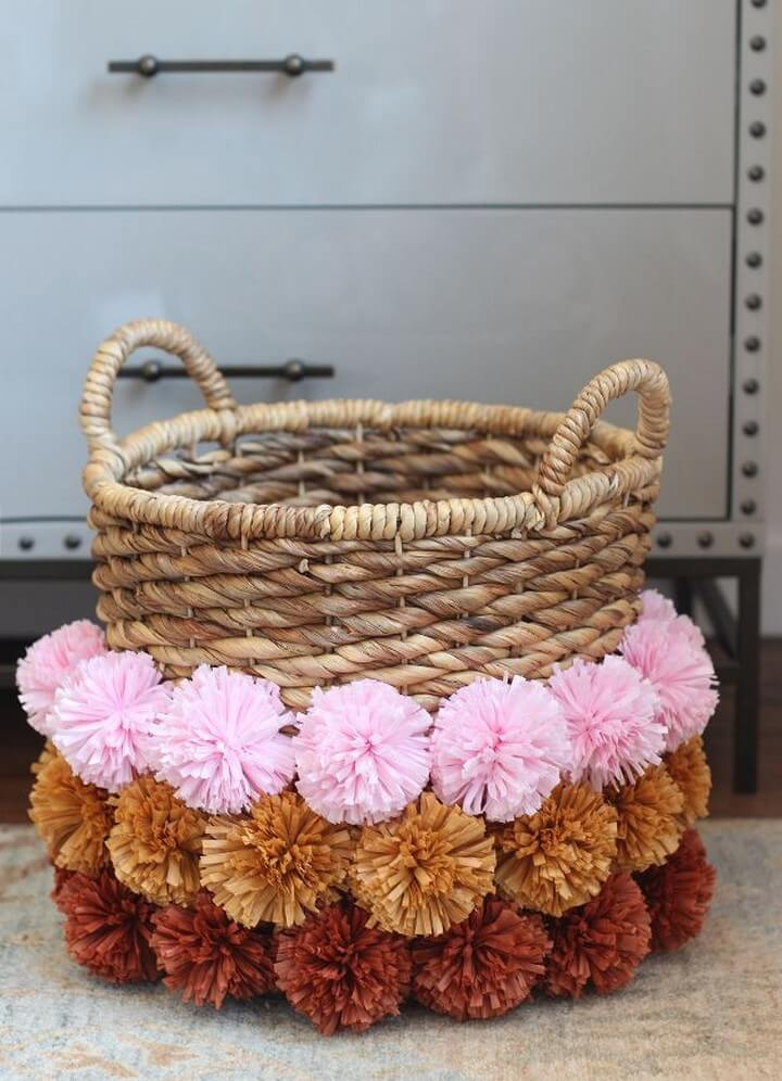 pom pom basket, ideas, diy basket, basket for bedroom, bedroom decor, tutorial