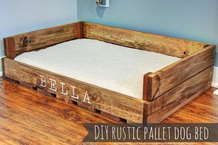 rustic pallet, rustic dog bed,
