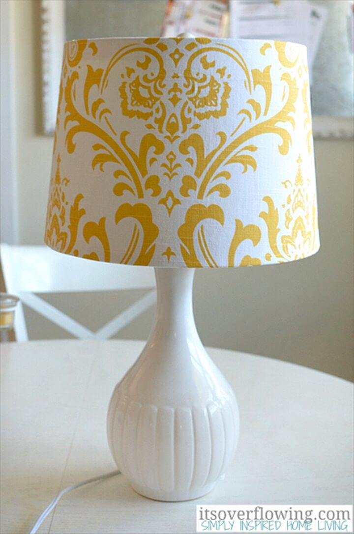 fabric cover lampshade, diy lampshade, diy ideas, how to, easy to