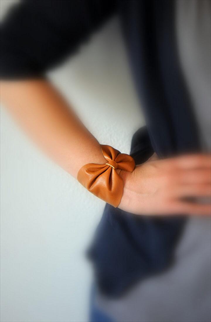 bow bracelet, leather bracelet, leather bow bracelet, make and sell