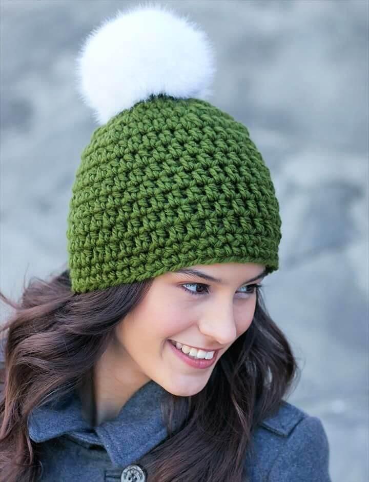 pom pom crochet, hat ideas, crochet projects, crafts lover, ideas, do it yourself
