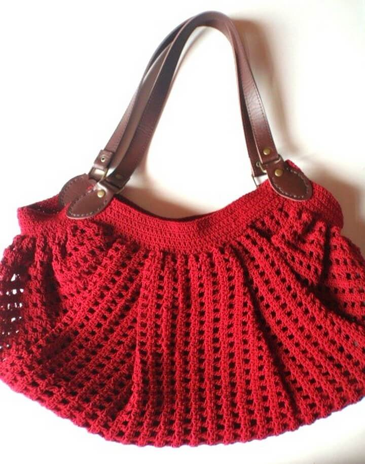 leather crochet, leather handle bag, crochet free pattern
