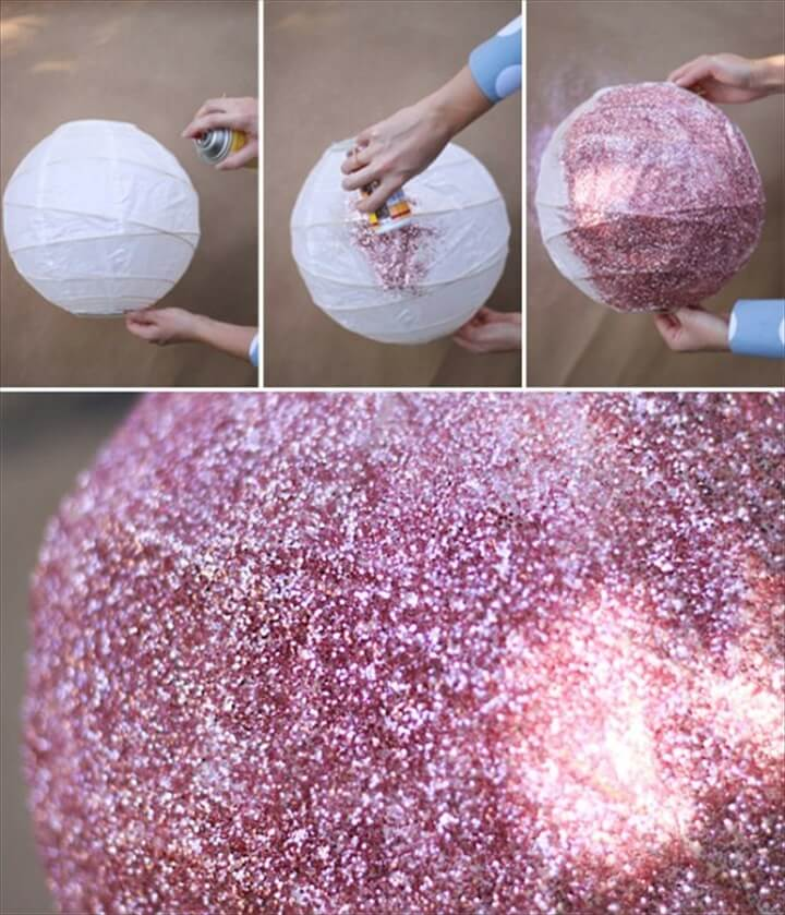 christmas life hacks, glitter disco ball, easy to make