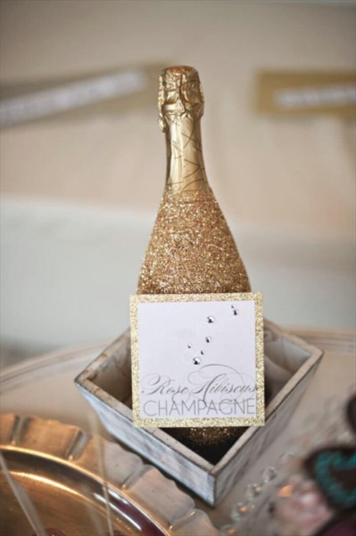 champagne bottle, glitter ideas new year
