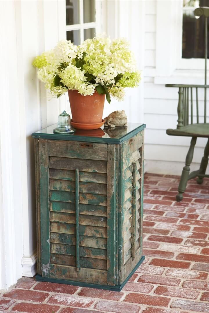 shutter side, table decor, flowers home decor, diy crafts and projects