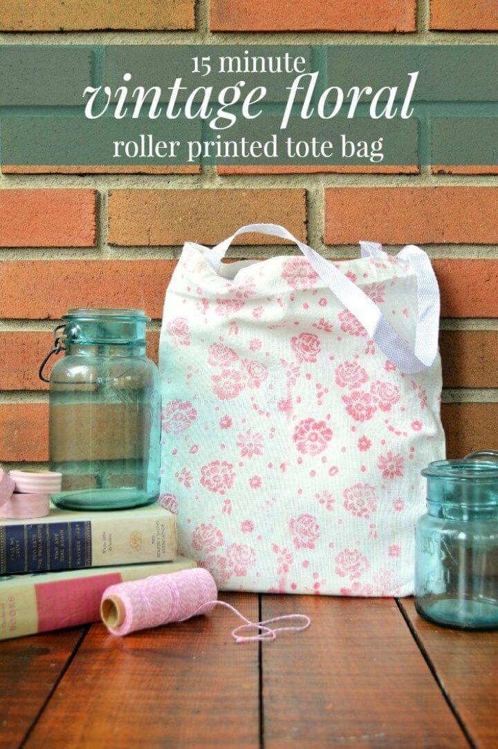 15 Minute Vintage Floral Tote Bag