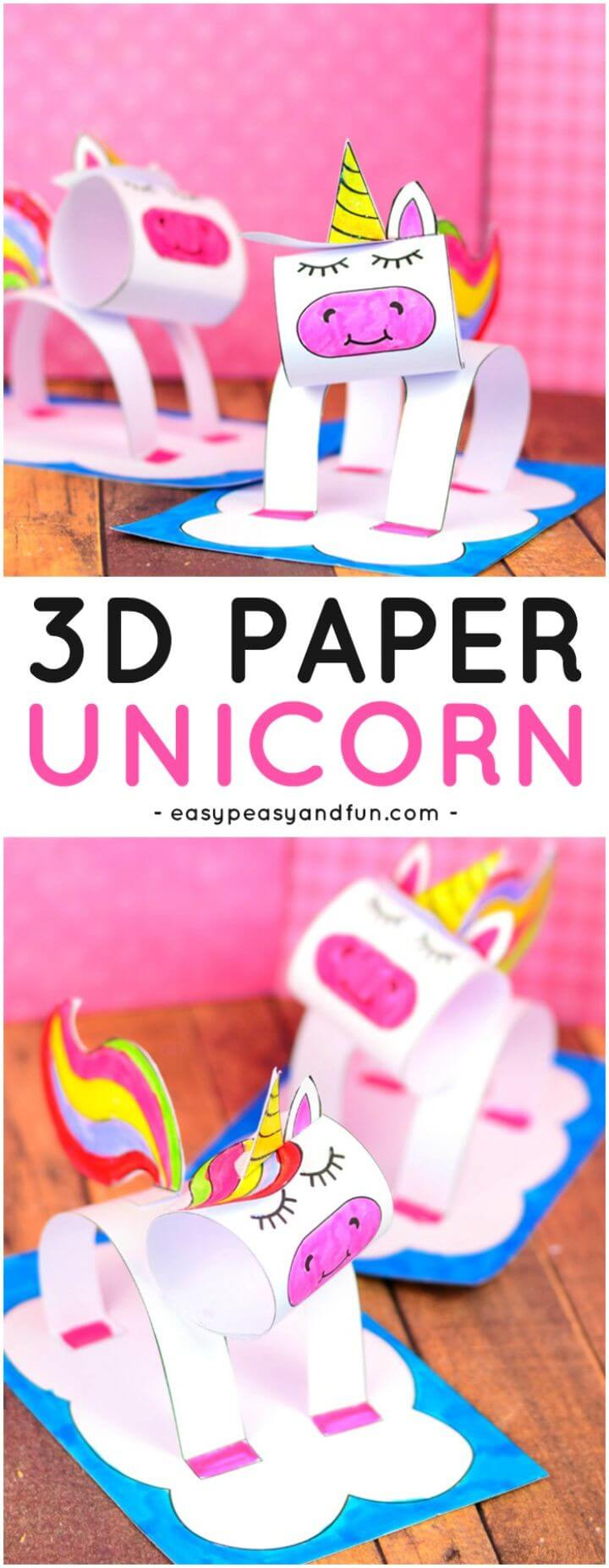 3D Construction Paper Unicorn Craft for Kids. A super fun paper craft idea for kids 1