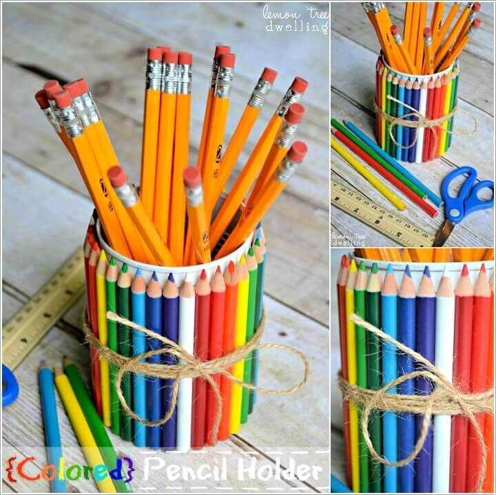 A Holder Wrapped with Color Pencils