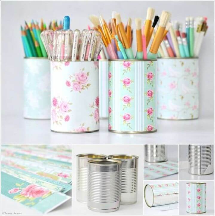 Beauteous Printed Paper Wrapped Tin Can Pen Pots
