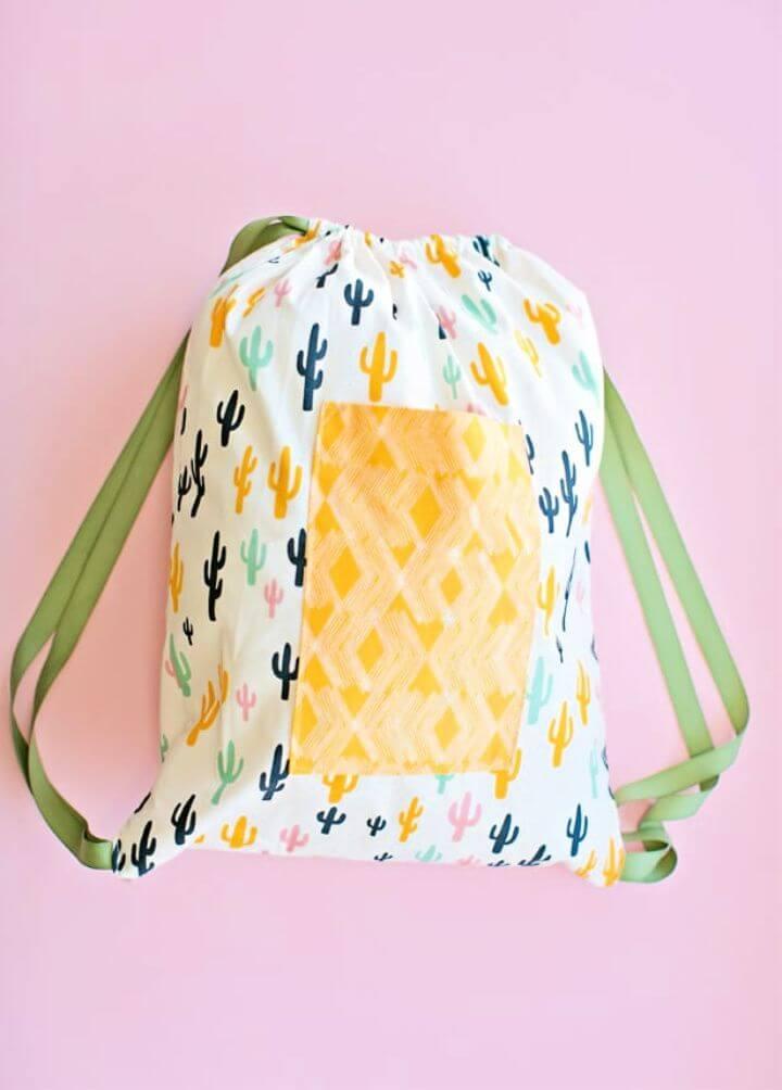 Cactus Print Drawstring Backpack