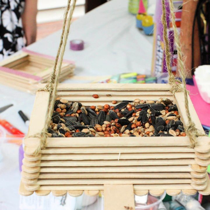 Craft Stick Bird Feeder DIY Tutorial