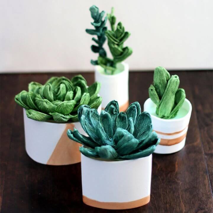 Crepe Paper Succulents DIY