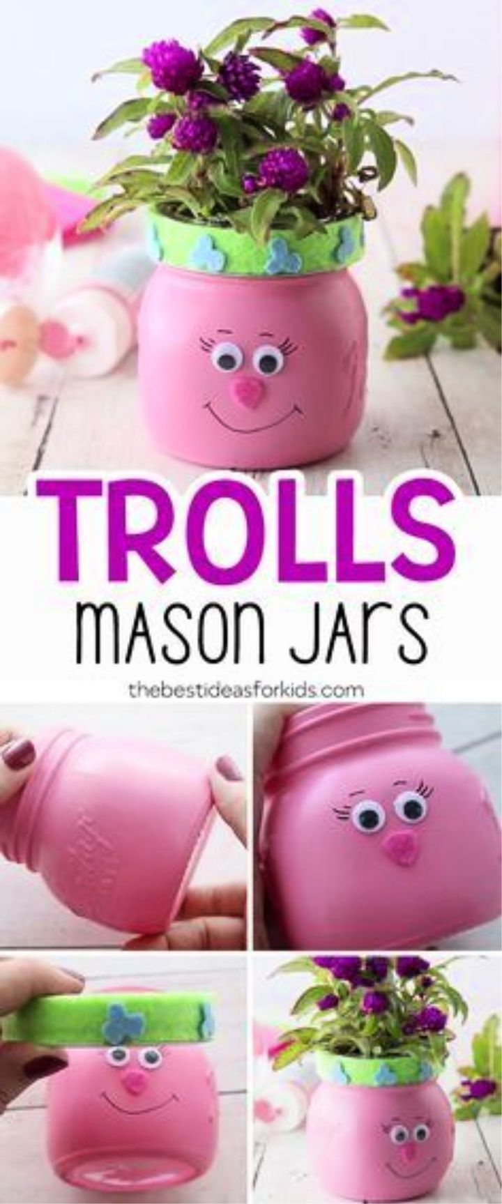 DIY Adorable Trolls Mason Jars
