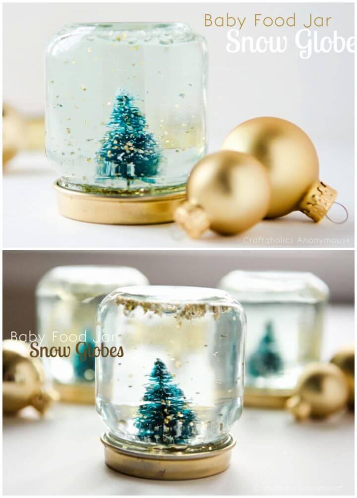 DIY Baby Food Jar Snow Globes Tutorial