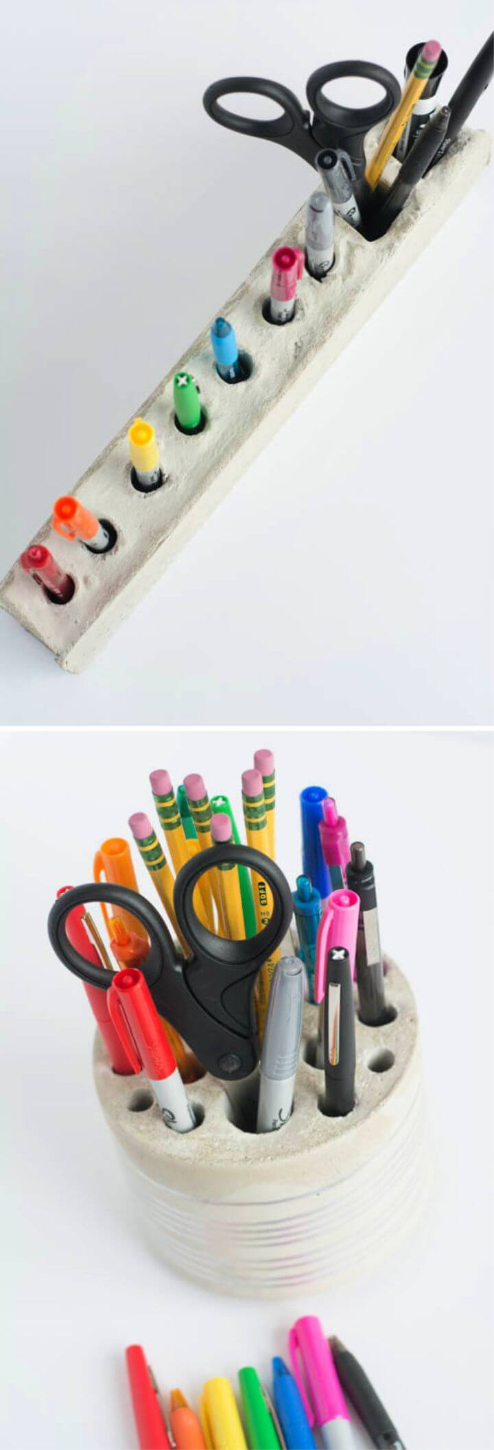 DIY Cement Desk Organizer and Pencil Holder