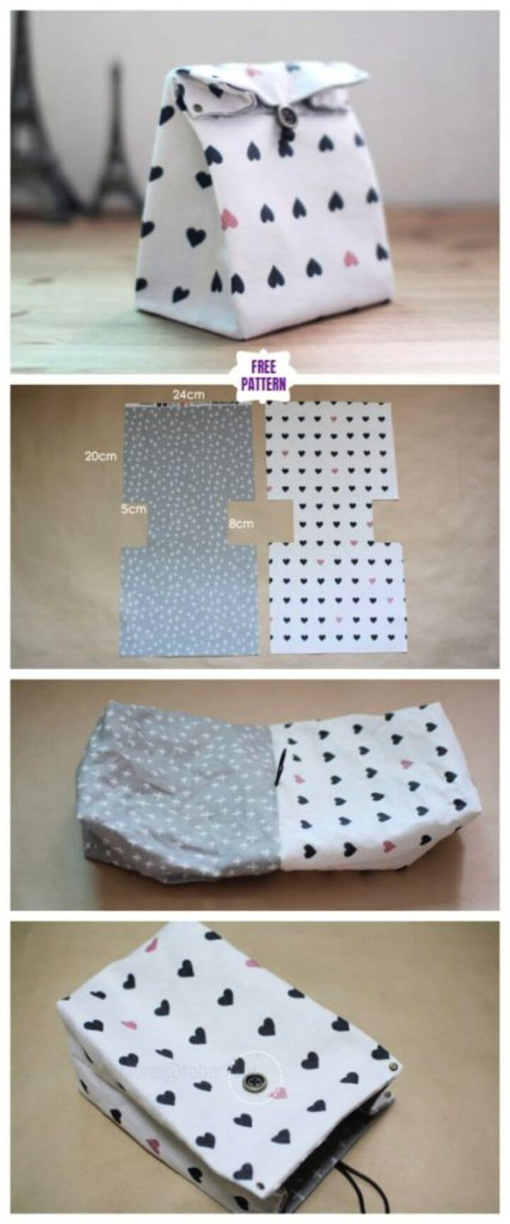 DIY Classic Fabric Gift Bag Free Sew Pattern Tutorial