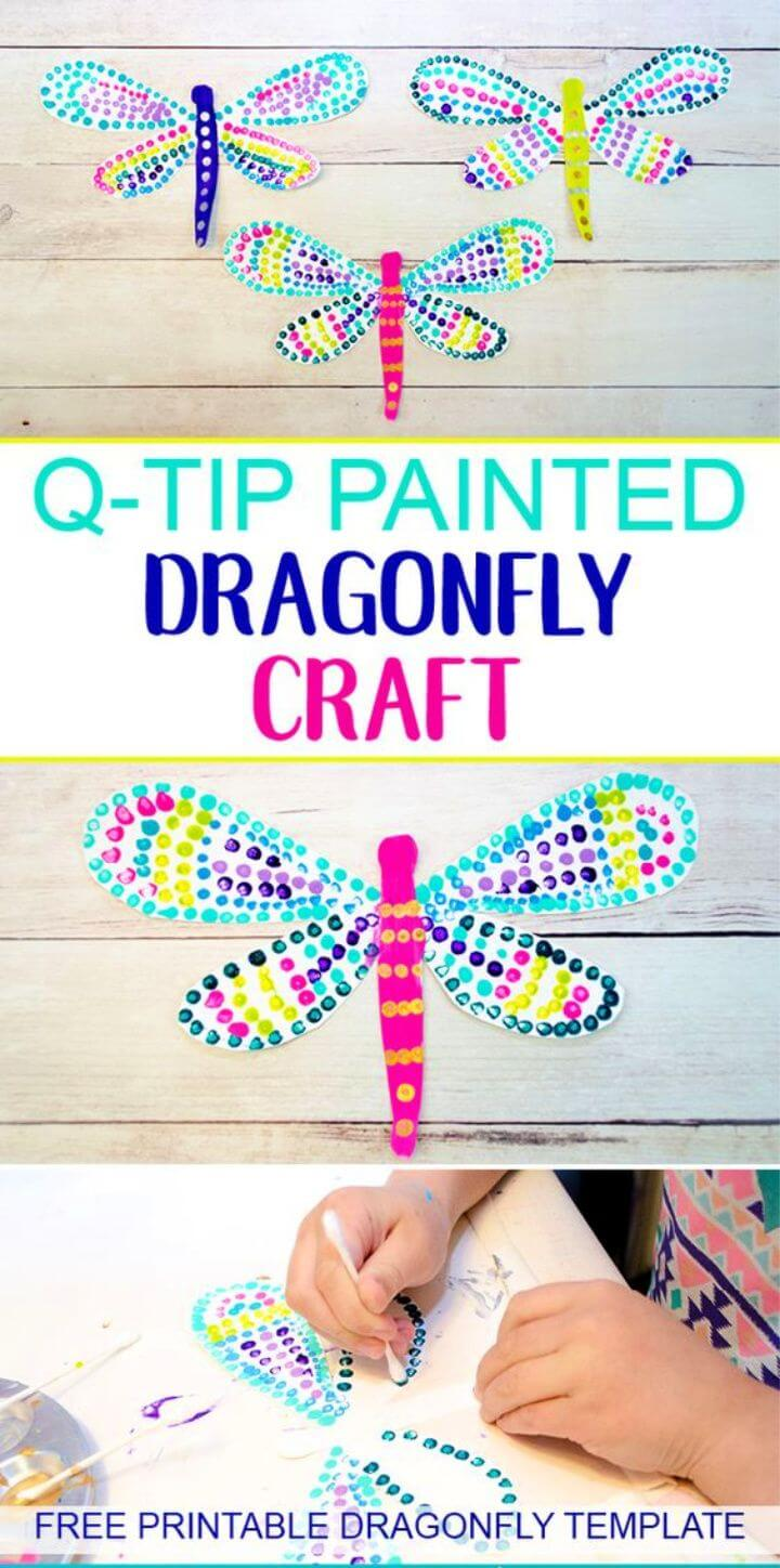 DIY Colorful Q tip Painted Dragonfly Craft